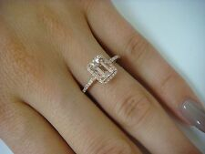 1 CARAT PEACH MORGANITE EMERALD CUT AND HALO DIAMONDS 14K ROSE GOLD RING 2.3 GR