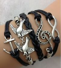 NEW Retro Infinity Anchor Pigeon Note Leather Charm Bracelet plated Silver !  D1
