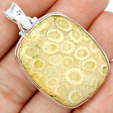 Indonesian Fossil Coral 925 Sterling Silver Pendant Jewelry FSCP51