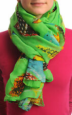Exotic Birds On Bright Green Unisex Scarf and Beach Sarong (SF000923)
