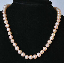 """8-9MM Real Natural Pink Akoya Cultured Pearl Jewelry necklace Long 20"""""""