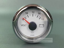 VDO MARINE VOLTMETER INSTRUMENT WEISS  GAUGE MIT CHROMRING LED 12V 52mm