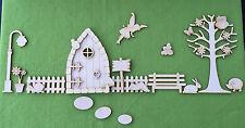 Wooden Fairy Door Blank Fairy Garden Enchanted Fairy Land Scene COMPLETE PACK S