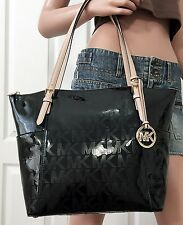 Michael KORS BORSA/BAG MK Logo Jet Set item EW TZ morti NERO NUOVO!