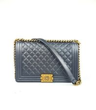 Chanel 15C Dark Silver Quilted Calf Leather New Medium Boy Flap Bag Gold HWR
