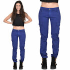 New Ladies Womens Electric Blue Slim Skinny Stretch Combat Pants Cargo Trousers