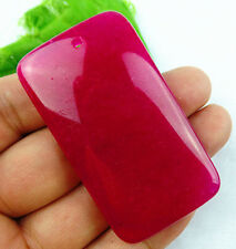 Beautiful rose red Jade carved  Rectangle pendant bead BC2239