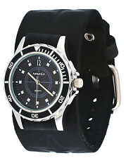 Nemesis FST092K Women's Star Icon Black Dial Sports Wide Leather Cuff Band Watch