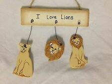 LION ornament I love lions mini sign personalized wood Novelty, multi color