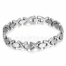 Men's Women's Charm Silver Tone Stainless Steel Cross Heart Link Bracelet Chain