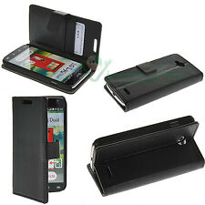 Custodia NERA eco pelle per LG L90 D405N BOOKLET stand+tasche schede cover