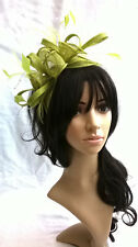 Lime Green Feather Fascinator..rosette on a headband..for wedding races.