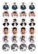24 JUSTIN BIEBER BIRTHDAY CUPCAKE  WAFER RICE EDIBLE FAIRY CAKE TOPPERS