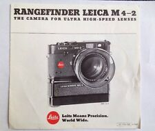 Leica M4-2 Rangefinder Camera For Ultra High-Speed Lenses BOOKLET ONLY