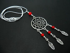 "A LOVELY TIBETAN SILVER/RED CORAL  DREAMCATCHER NECKLACE ON 18"" SNAKE CHAIN."