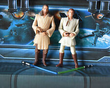 STAR WARS FIGURE THE PHANTOM MENACE QUI GON JIN + OBI WAN KENOBI