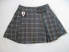 *Bombshell Cute Grey Plaid Pleated Schoolgirl Buckle Skirt Rockabilly Pinup S