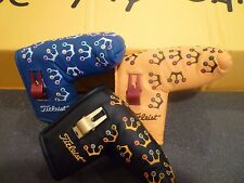 3 NEW SCOTTY CAMERON TITLEIST PUTTER HEAD COVERS MINI CROWNS SET WITH DIVOT TOOL