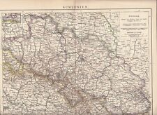 c. 1890  SILESIA SCHLESIEN GERMANY POLAND CZECH Rep.  Antique Map