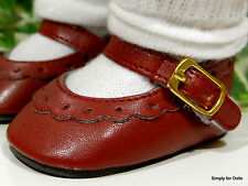 """BURGUNDY Leather-Look Mary Jane DOLL SHOES fits 18"""" AMERICAN GIRL Doll Clothes"""