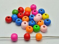 200 Mixed Bright Color 10mm Wooden Round Wood Beads