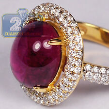 18K Yellow Gold 8.61 ct Pink Cabochon Tourmaline Diamond Womens Gemstone Ring