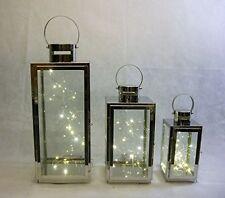 set 3 silver chrome metal LANTERNS  & 20 LED lights INDOOR/OUTDOOR,GARDEN