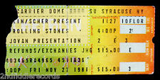 THE ROLLING STONES-Rare Original 1981 Concert Ticket-Syracuse NY-TATTOO YOU