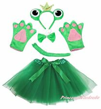 Crown Frog Headband Bow Tail Paw Gauze Skirt 5p Kids Child School Party Costume