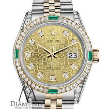 Ladies Rolex Steel-Gold 26mm Datejust Champagne Gold Diamond Emerald Watch