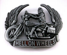 Hell on Wheels Motorcycle Skull Skeleton Boots Wings Red New Belt Buckle dd
