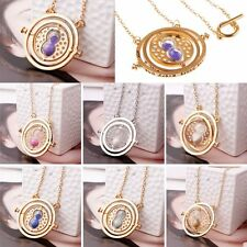 Fashion Unisex Harry Potter Time Turner Gold Necklace Hermione Granger Hourglass