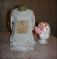 Princess Belle Pink white yellow gold 2 piece infant girl Layette Gown and cap