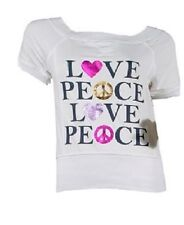 Women Ladies Top White Fashion Love & Peace Print Shortsleve Top.Size:12 (Bnwt