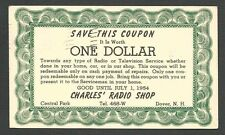 1954 DOVER NH CHARLES RADIO SHOP OFFERS $1. COUPON FOR REPAIRS IN HOME CAR ETC