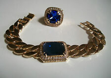 MENS HIP HOP BLING BLUE SAPPHIRE ICED OUT RAPPER CUBAN LINK BRACELET WITH RING