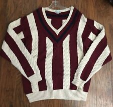 Vintage 80's IZOD Cable Knit White & Red Striped Blue Trim Rugby Sweater Mens XL