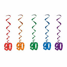 90TH BIRTHDAY WHIRLS HANGING PARTY DECORATIONS PKT OF 5 SWIRLS ANNIVERSAY NINETY