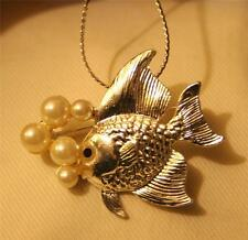 CUTE! Textured Swimming Fish Simulated Pearl Bubbles Pendant Necklace Brooch Pin