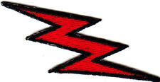 LIGHTNING BOLT, RED w/BLACK OUTLINE - IRON ON EMBROIDERED APPLIQUE PATCH