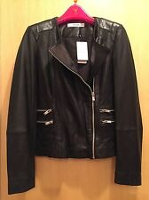 Gorgeous BRAND NEW WITH TAGS Mango Black Leather Biker Jacket Size S