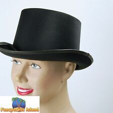 OLD ENGLAND VICTORIAN BLACK SATIN TOP HAT Mens Ladies Unisex Fancy Dress