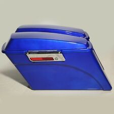 Blue Hard Saddle bags Trunk W/ Lid Latch  Key For Harley Touring DYNA 1994-2013