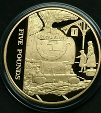 2006 ALDERNEY £5 Five Pound Steam Age Royal Scot Silver & Gold Plated Proof Coin