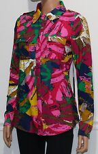New BCBG Max Azria Shirt Long Sleeve Top Blouse Urban Explosion Size M MSRP $140