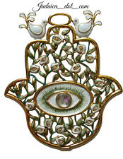 Green Hamsa Wall Hanging Protection Hand Of God Enamel Art Israel Judaica Gift S