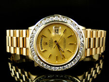 Pre-Owned Mens 41 MM Rolex President Day-Date 18k Yellow Gold Diamond Watch