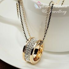 18K Yellow Gold Plated Simulated Diamonds Double Chain & Ring Long Necklace