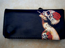 SHATTERED SKULL & ROSE HEAD ROLLING TOBACCO POUCH CASE WALLET ROCK & ROLL GOTH