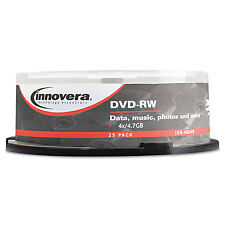 DVD-RW Discs, 4.7GB, 4x, Spindle, Silver, 25/Pack